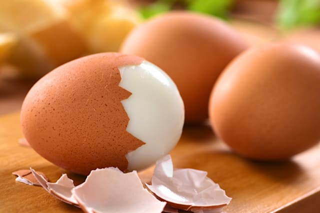 fresh hard boiled eggs with...