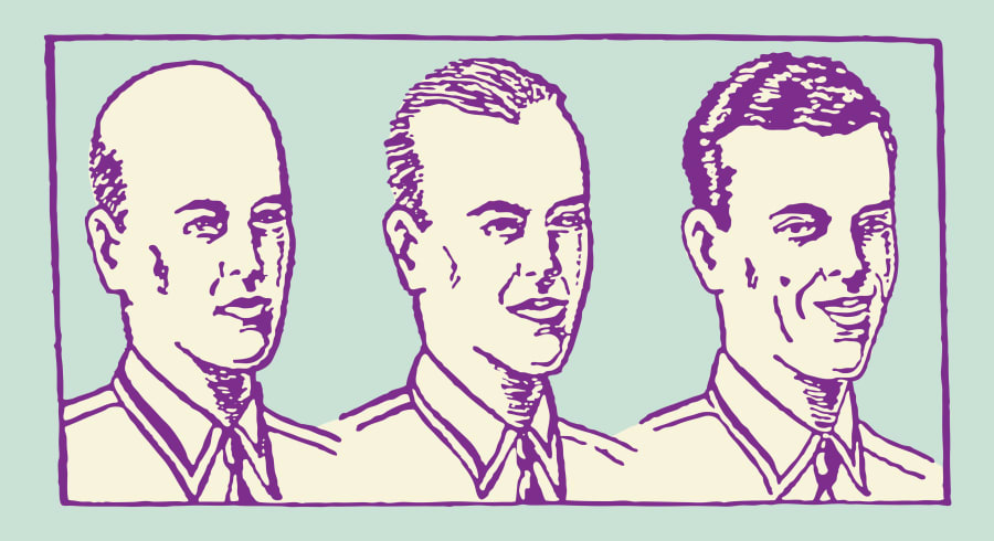 A helpful diagram of a man in the varying stages of