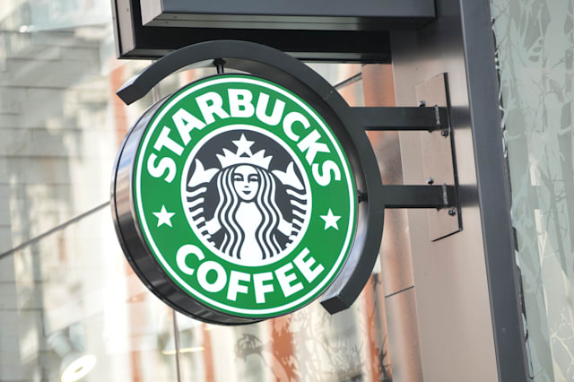 LONDON, UK - FEBRUARY 3, 2011: Close up of Starbucks cafe logo in central London