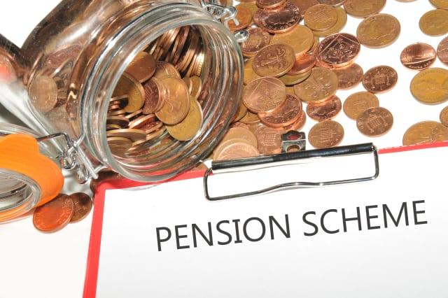 pension scheme concept with jar ...