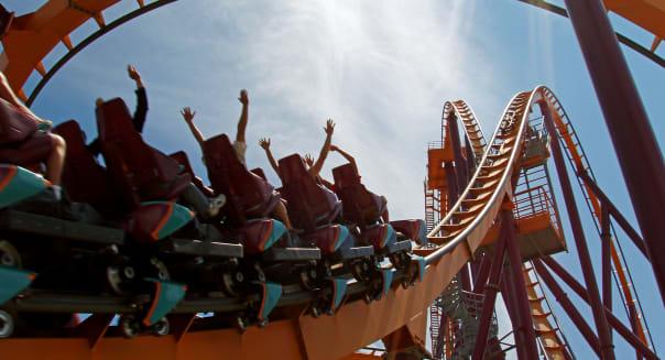 AE21M1 Roller Coaster Raging Bull  roller; coaster; amusement; park; ride; thrills; roller; coaster; rollercoaster; amusement; p