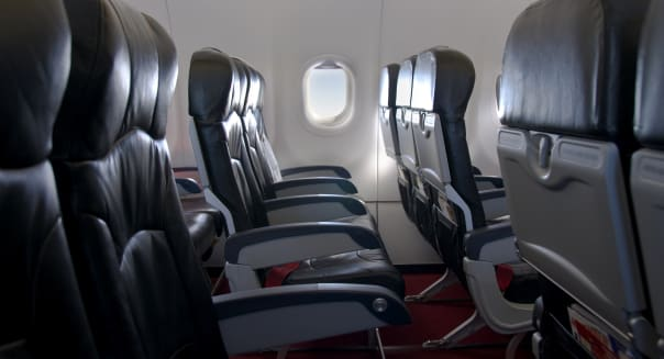 Economy Class Seating Inside An Airplane