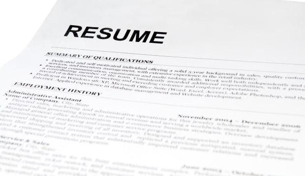 resume form on white