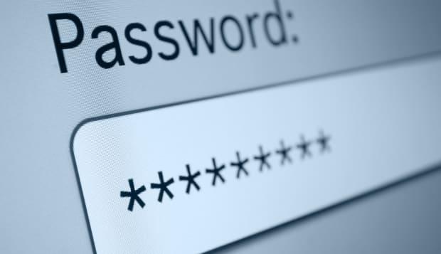 closeup of password box in...