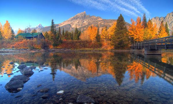 teton range reflection on jenny lake