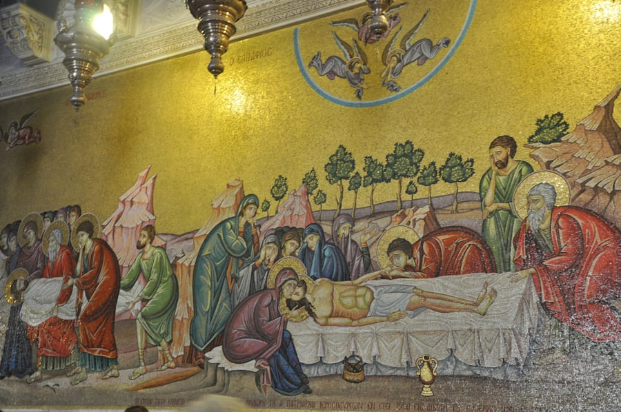 A Mosaic depicting the body of Jesus inside the entrance of the