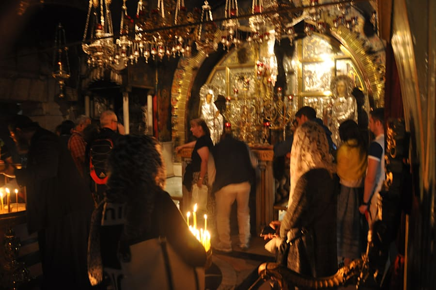 Worshipers inside the Church of the Holy Sepulchre in