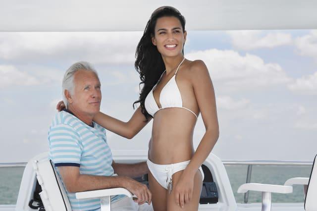 happy young woman in bikini...