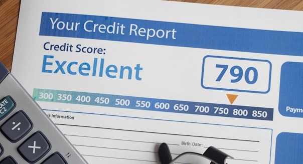 credit report with score on a...