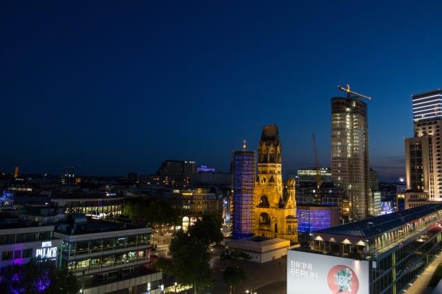 View from the Monkey Bar in Berlin - Kaiser Wilhelm church in Berlin.