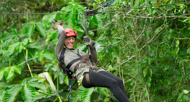 Zipline adventure in Ecuadorian rainforest, Banos de Agua Santa
