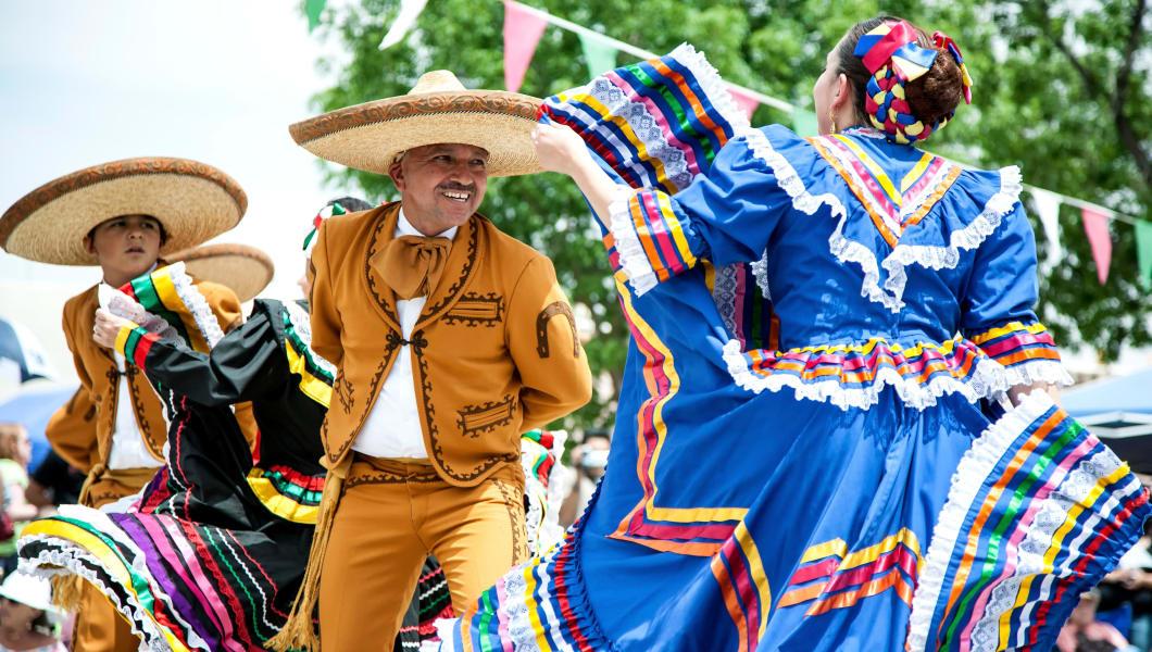 Mexican dancers, Cinco de Mayo Celebration, Old Mesilla, Las Cruces, New Mexico USA