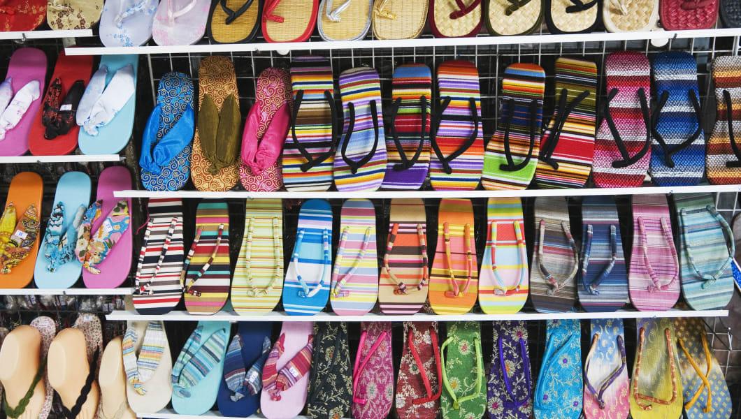 Colourful flip-flops at the Chatuchak Weekend Market. Bangkok, Thailand