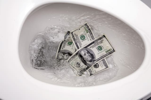 flushing one hundred dollars...