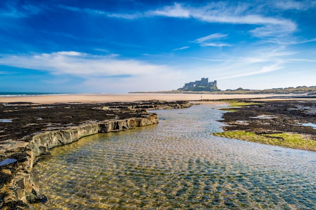 Bamburgh Castle on the Northumberland coast, England