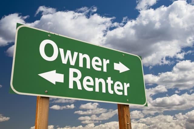 owner  renter green road sign...