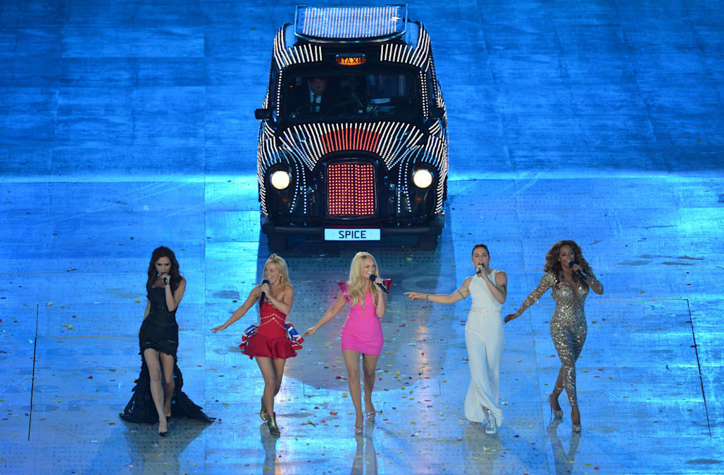 British band Spice Girls perform during