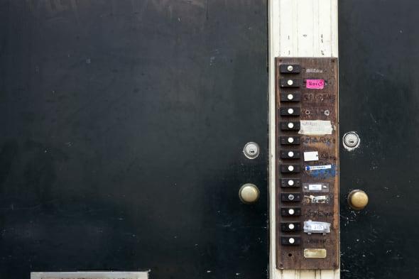 large number of doorbells at...