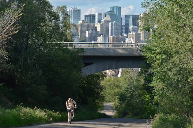 A view of Edmonton downtown from Walterdale Hill, near the Old Strathcona