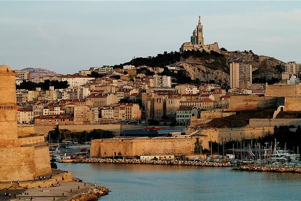 View of Marseille city with its 'Vieux Port' entrance.