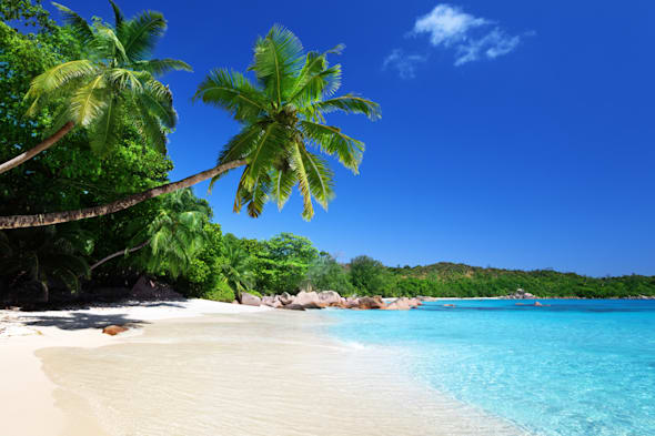 anse lazio beach at praslin...