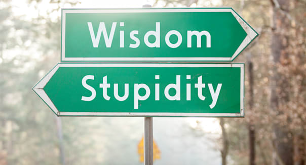 signpost on two sides   wisdom...