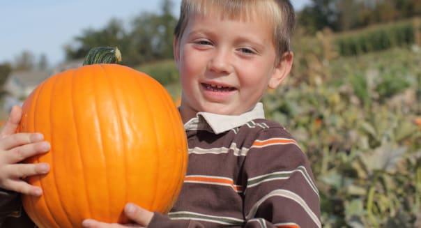 Young boy holding up pumpkin at pumpkin patch