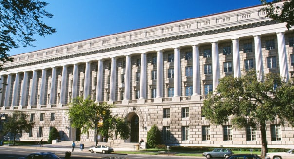 Facade of a government building, Internal Revenue Service building, Washington DC, USA