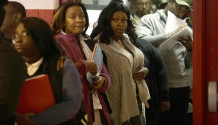 Job Seekers Look For Work At Career Fair In Detroit
