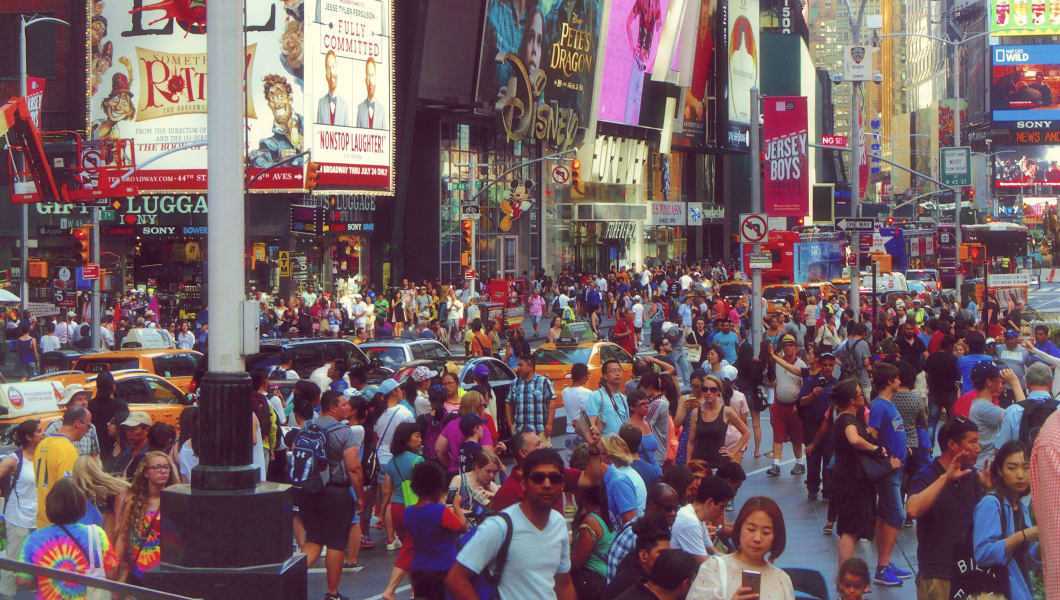 New York, USA - July 27, 2016 Times Square crowded of people