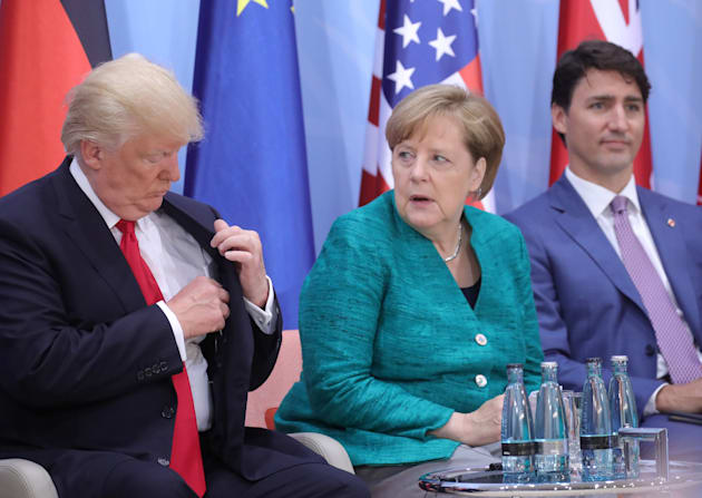 U.S. President Donald Trump, German Chancellor Angela Merkel and Prime Minister Justin Trudeau at the...