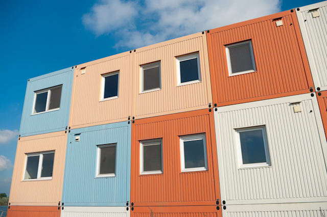 colorful cargo containers used...