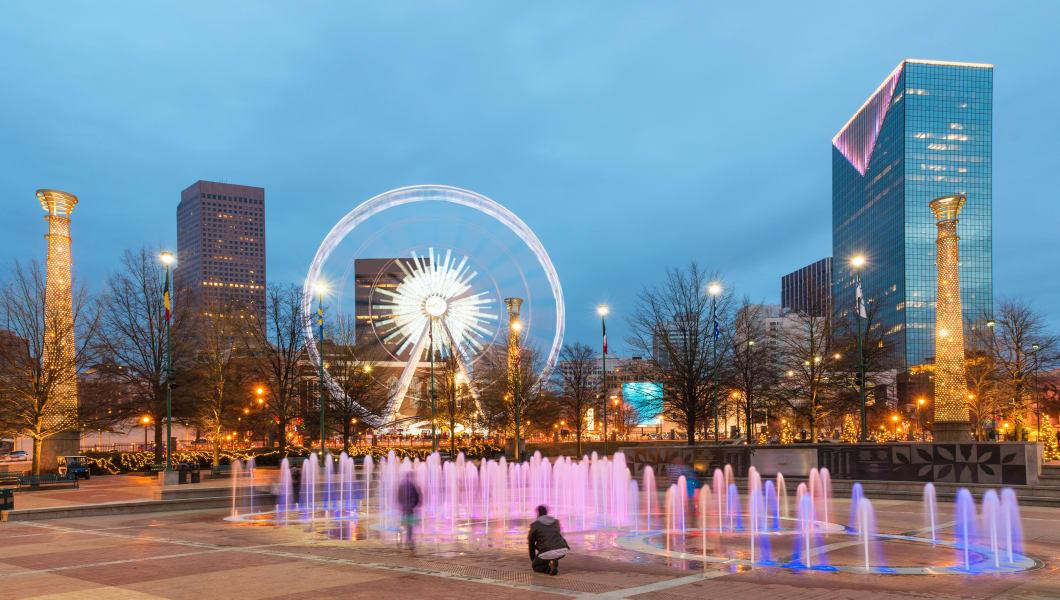 Centennial Olympic Park in Atlanta at night