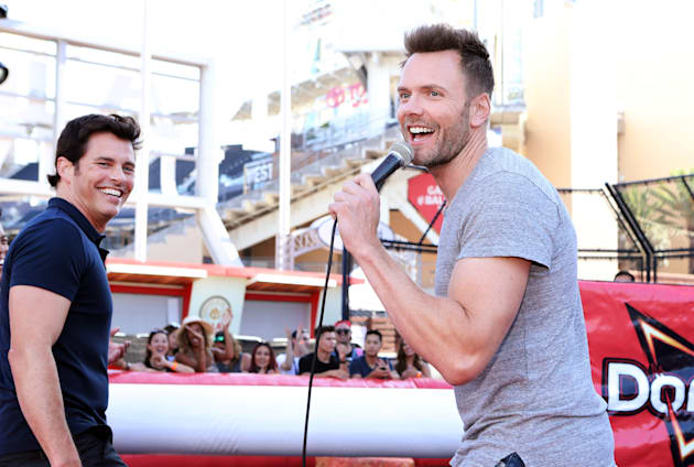 "SAN DIEGO, CA - JULY 21:  James Marsden, left, and Joel McHale helped Doritos take over MTV's Fandom Fest with the ""Bold or Boom Challenge"" -- an obstacle course of epic proportions. The event pitted Marsden's Team Nacho Cheese against McHale's Team Cool Ranch, bringing to life the age-old debate between fans of the two flavors. Ultimately, Team Nacho Cheese prevailed at PETCO Park on July 21, 2017 in San Diego, California.  (Photo by Randy Shropshire/Getty Images for MTV)"