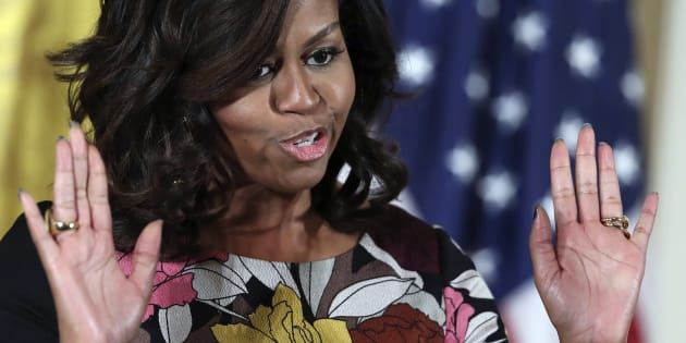 """""""Be quiet back there"""" outgoing first lady Michelle Obama responds to the latest calls for her..."""