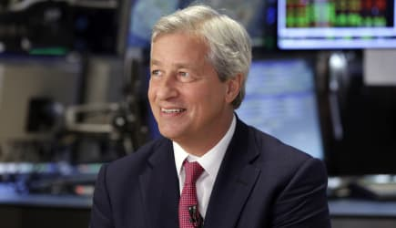 Jamie Dimon (JPMorgan Chase Chairman and CEO Jamie Dimon is interviewed on the floor of the New York Stock Exchange Friday, July
