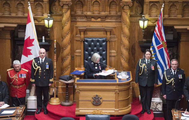 B.C. Lt.-Gov. Judith Guichon reads the Speech from Throne in Victoria on