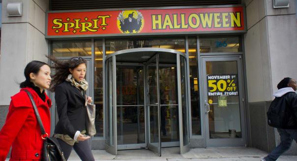 The Spirit Halloween pop-up store in the Chelsea neighborhood of New York attempts to unload unsold merchandise