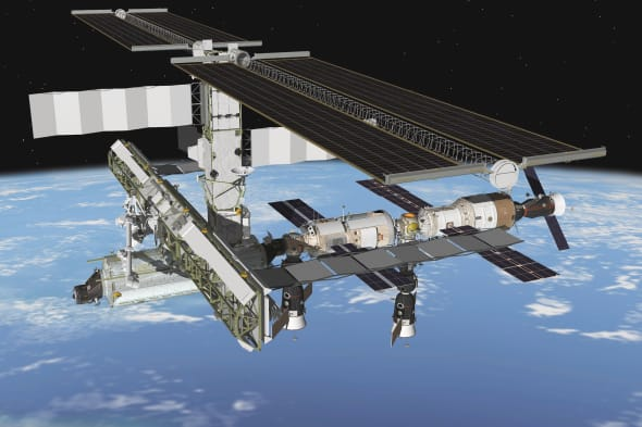 April 2004 - This artist's rendering depicts the port side of the International Space Station following the April 21, 2004 docki