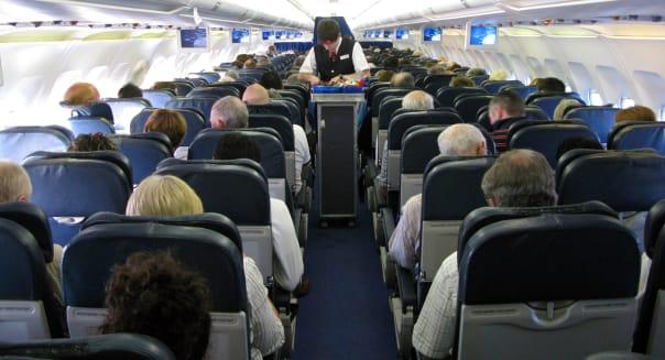 Passengers on a aeroplane