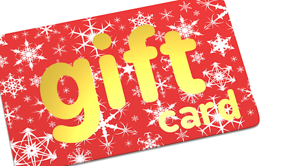 Click for more. Christmas Gift Card. Christmas Sale Concept. 3D Render.