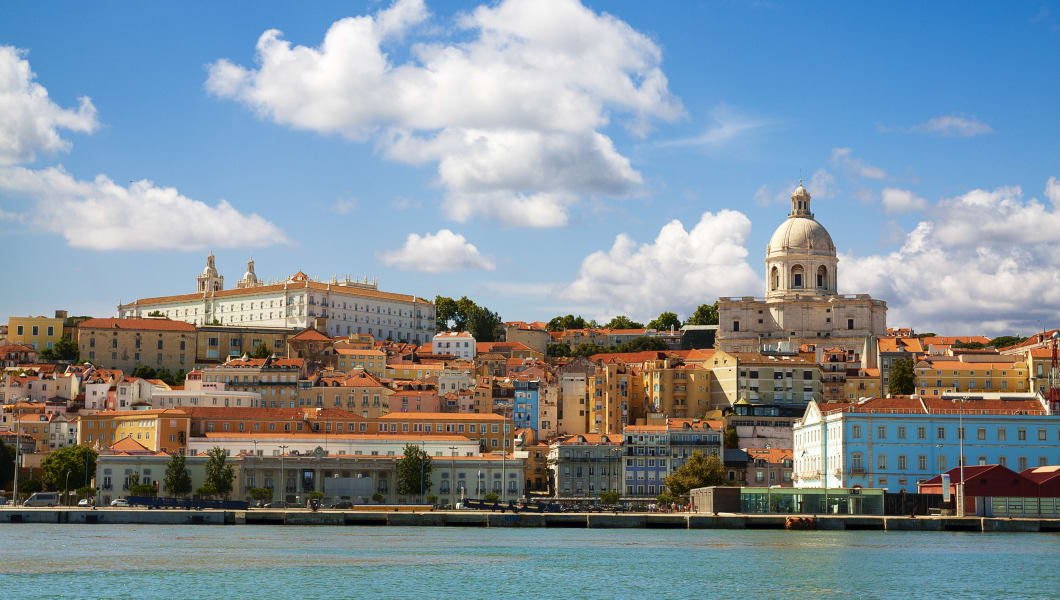 Beautiful view of Lisbon from the Tagus River. The scene is dominated by the Pantheon on the right hand side and the convent of
