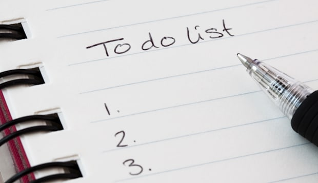 'To do list' with a black pen.