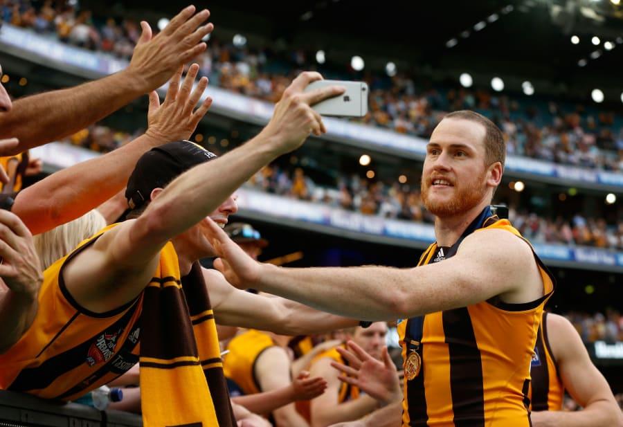 Fan favourite: Jarryd Roughead celebrates after winning the 2015 Grand