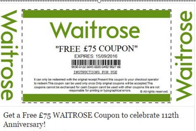 The fake Waitrose voucher