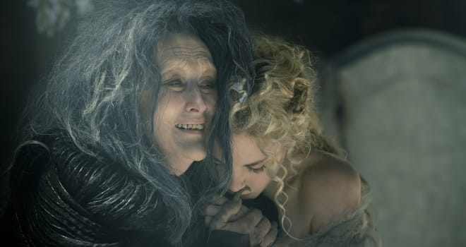 Meryl Streep stars as the Witch and MacKenzie Mauzy as Rapunzel in INTO THE WOODS, a modern twist on beloved fairy tales. Based on the Tony®-winning musical by James Lapine, who also penned the screenplay, and legendary composer Stephen Sondheim, who provides the music and lyrics, the film is in theaters Dec. 25, 2014. Photo by: Peter Mountain. © 2014 Disney Enterprises, Inc. All Rights Reserved.