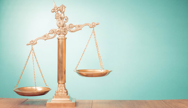 law scales on table. symbol of...