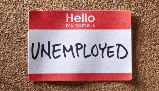 Name tag with unemployed written on it