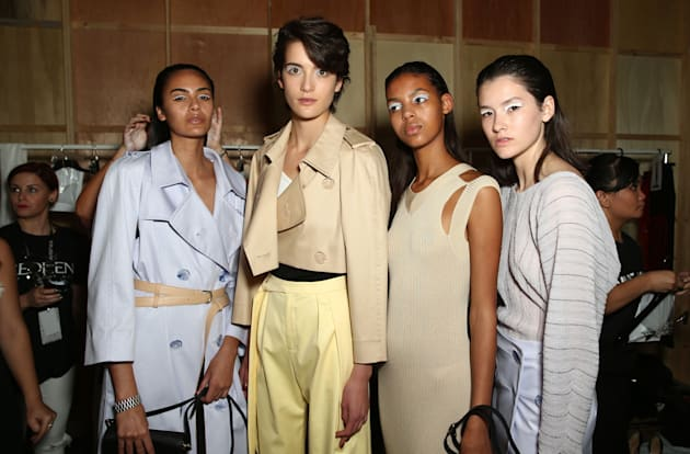 Models backstage ahead of the Christopher Esber