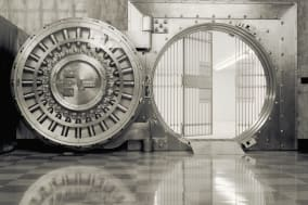 Bank vault with open door & grill (B&W)